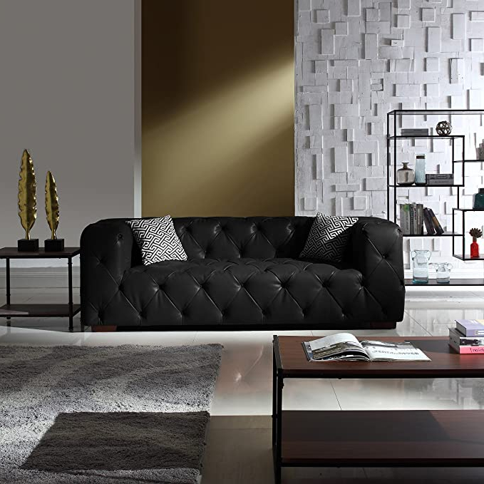 Large Tufted Real Leather Chesterfield Sofa, Classic Living Room Couch (black) For Most Popular Starks Tufted Fabric Chesterfield Chair And Ottoman Sets (View 23 of 30)