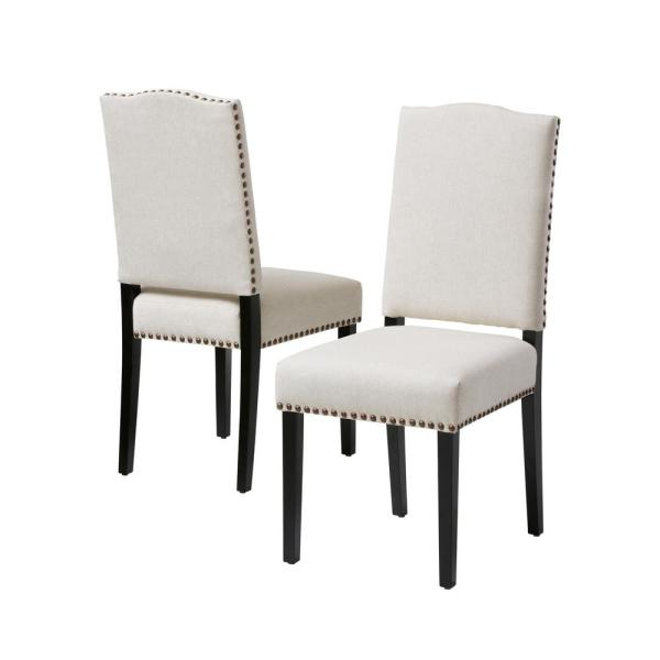 Latest Aime Upholstered Parsons Chairs In Beige In Homesullivan Espresso Beige Heathered Weave Parson Chair (View 6 of 30)