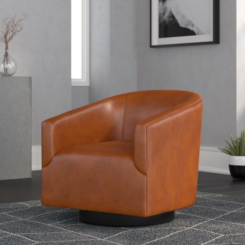Latest Comfort Pointe Gaven Caramel Wood Base Swivel Chair 8095 57 For Hazley Faux Leather Swivel Barrel Chairs (View 20 of 30)