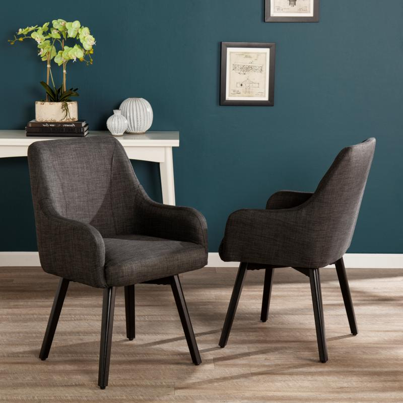 Latest Draco Pair Of Upholstered Swivel Arm Chairs – Charcoal For Draco Armchairs (View 2 of 30)