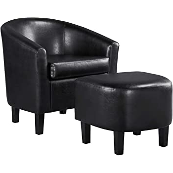 Latest Faux Leather Barrel Chair And Ottoman Sets Inside Yaheetech Accent Chair With Ottoman Barrel Tub Chair And Ottoman Set Faux Leather Accent Armchair Lounge Chair With Footrest Set For Living Room (View 10 of 30)