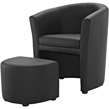 Featured Photo of Faux Leather Barrel Chair And Ottoman Sets