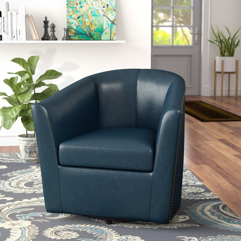 Latest Faux Leather Barrel Chairs Within Rabinowitz (View 12 of 30)