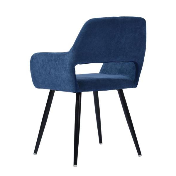 Latest Furniturer Cromwell Blue Fabric Upholstered Hollow Design For Daulton Velvet Side Chairs (View 17 of 30)