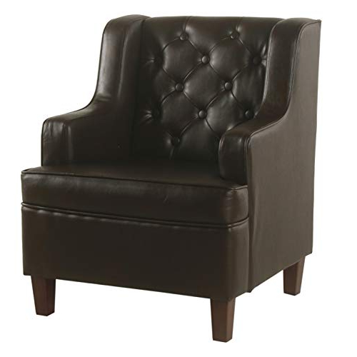 Latest Homepop Youth Button Tufted Wingback Chair, Brown Faux Pertaining To Montenegro Faux Leather Club Chairs (View 26 of 30)