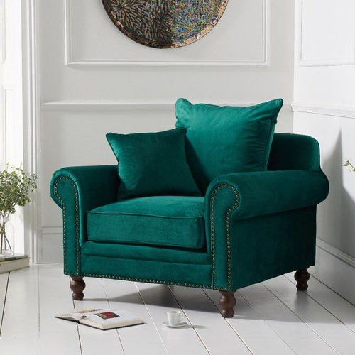 Latest Hutchinsen Polyester Blend Armchairs Throughout The Eliza Green Velvet Armchair Is Upholstered In Smooth (View 12 of 30)