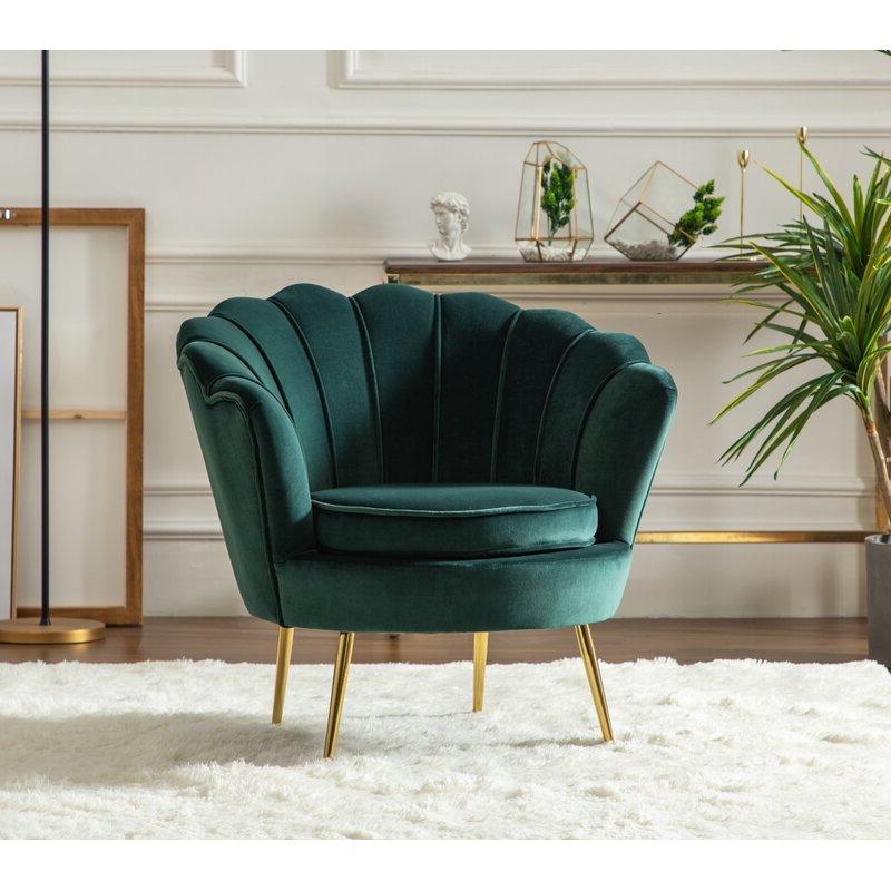 "Latest Lauretta Velvet Wingback Chairs Throughout Lauretta 32"" W Tufted Velvet Barrel Chair (View 14 of 30)"
