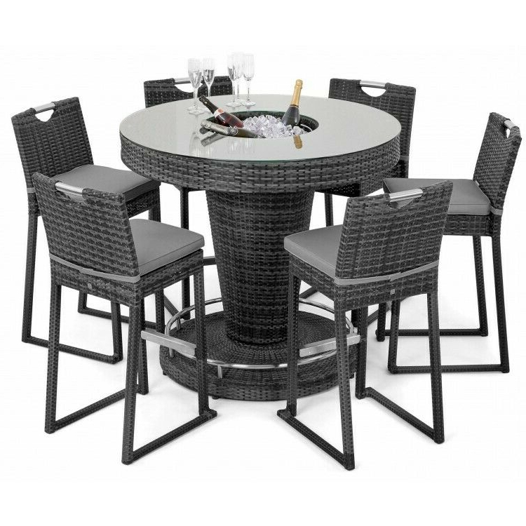 Latest Milan Rattan Garden Furniture Grey 6 Seat Round Tall Bar Set With Ice Bucket Inside Dorcaster Barrel Chairs (View 12 of 30)