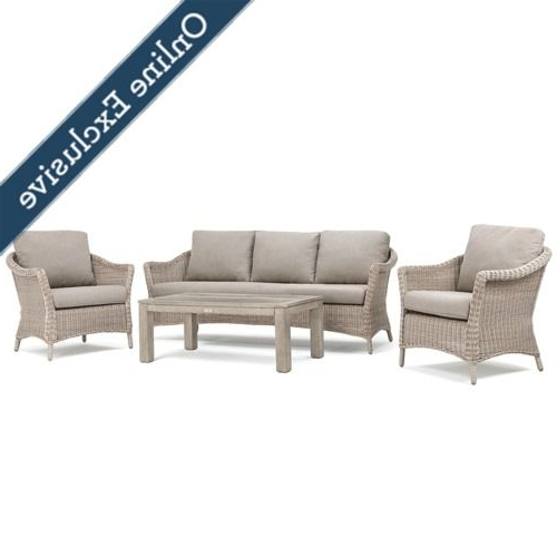 Laurel 4pc Sofa Seating (2 Lounge Chairs, 1 Sofa, 1 Coffee Table) Within Well Known Lau Barrel Chairs (View 7 of 30)