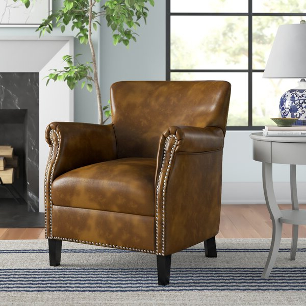 Leather Chair With Wood Arms Regarding Trendy Marisa Faux Leather Wingback Chairs (View 27 of 30)