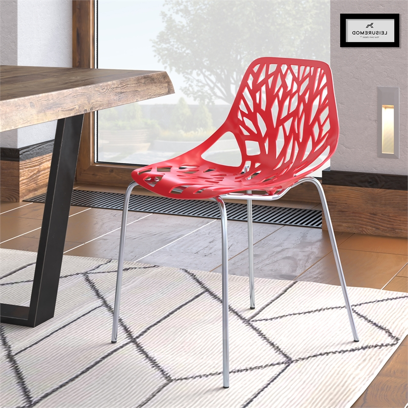 Leisuremod Modern Asbury Dining Side Chair With Chromed Legs In Red Regarding Popular Asbury Club Chairs (View 24 of 30)