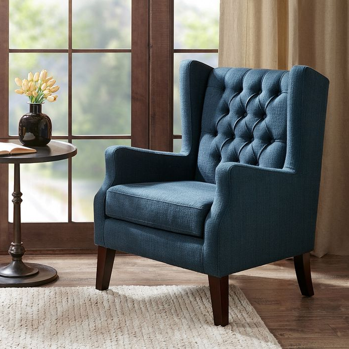 Lenaghan Wingback Chairs Pertaining To Favorite Roan Navy Wingback Button Tufted Accent Chair – Style # 82w87 – Lamps Plus (View 25 of 30)