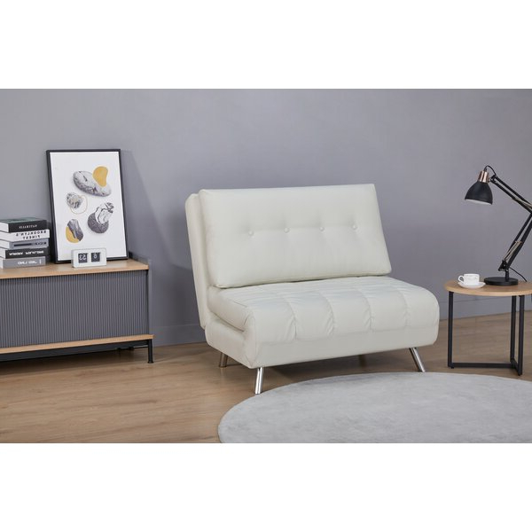 """Leola 40"""" W Faux Leather Convertible Chair With Regard To Most Recent Perz Tufted Faux Leather Convertible Chairs (View 7 of 30)"""