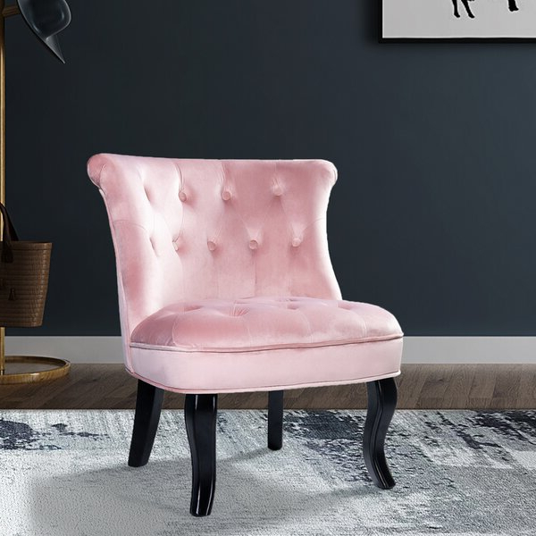 Light Pink Tufted Chair Pertaining To Well Known Galesville Tufted Polyester Wingback Chairs (View 23 of 30)
