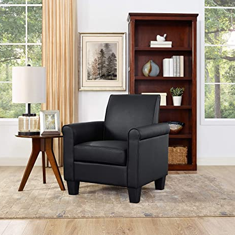 Live It Cozy Armchairs Regarding Current Lohoms Modern Faux Leather Accent Chair Uplostered Living Room Arm Chairs Comfy Single Sofa Chair (black) (View 18 of 30)