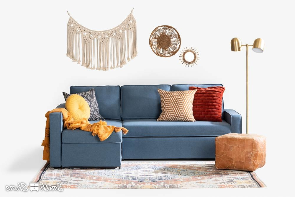 Live It Cozy Armchairs Regarding Most Popular Live It Cozy Sectional Sofa Bed With Storage, Blue Denim (View 3 of 30)