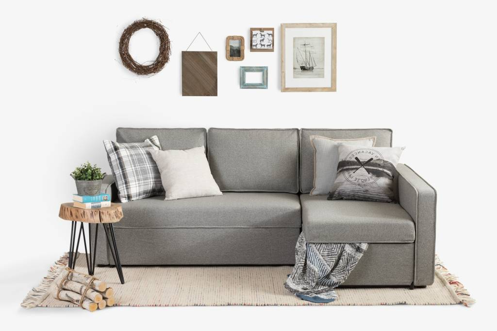 Live It Cozy Sectional Sofa Bed With Storage, Gray Fog For Newest Live It Cozy Armchairs (View 7 of 30)