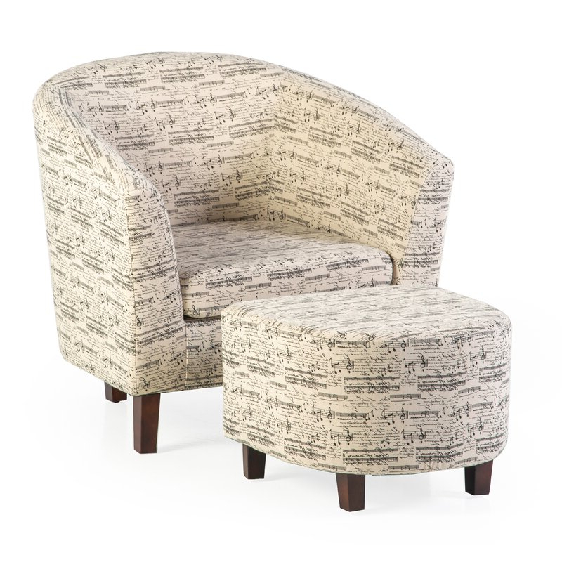 Lochlan Barrel Chair And Ottoman Pertaining To Latest Akimitsu Barrel Chair And Ottoman Sets (View 13 of 30)