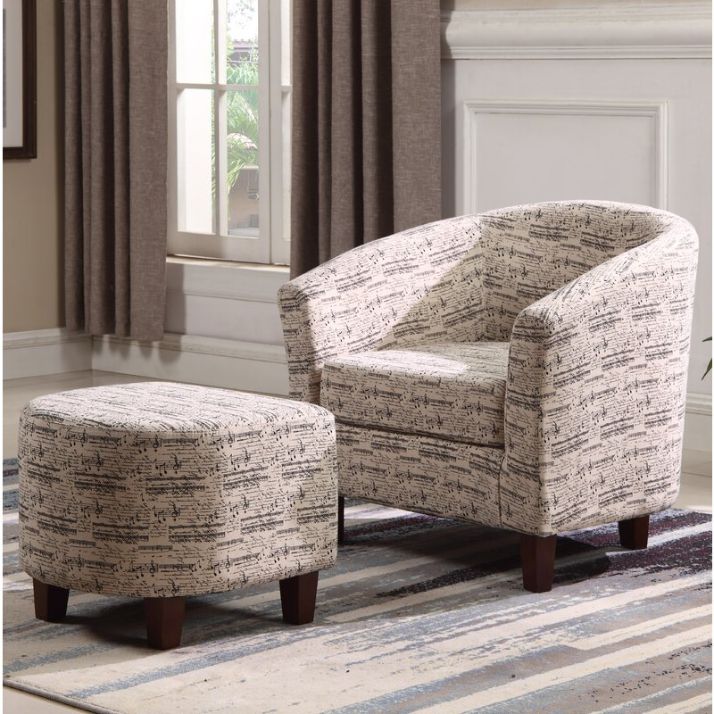 Lochlan Barrel Chair And Ottoman With Regard To Most Current Akimitsu Barrel Chair And Ottoman Sets (View 7 of 30)