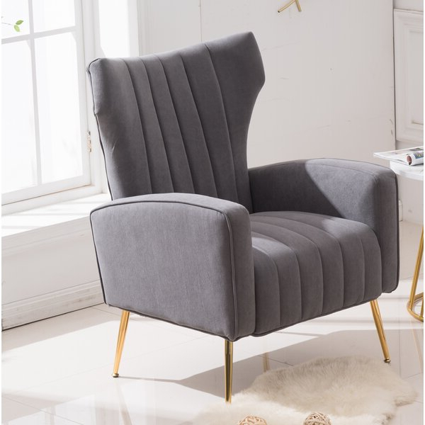 Loretta Accent Chair Grey Inside Preferred Lauretta Velvet Wingback Chairs (View 19 of 30)