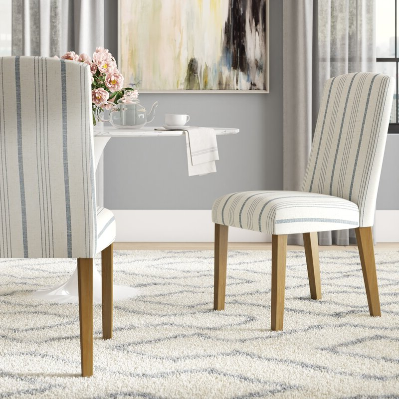 Louis Upholstered Dining Chair Pertaining To Trendy Bob Stripe Upholstered Dining Chairs (set Of 2) (View 16 of 30)