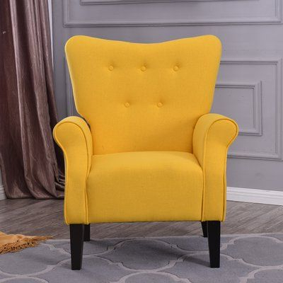 Louisburg Armchairs Inside Well Known Charlton Home Naumann Roll Arm Linen Wood Leg Club Chair (View 11 of 30)