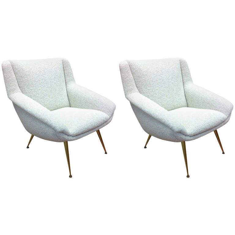 Lounge Chairs With Metal Leg Inside Most Recent Style Of Gio Ponti Pair Of Metal Leg Chairs, Newly Covered (View 11 of 30)