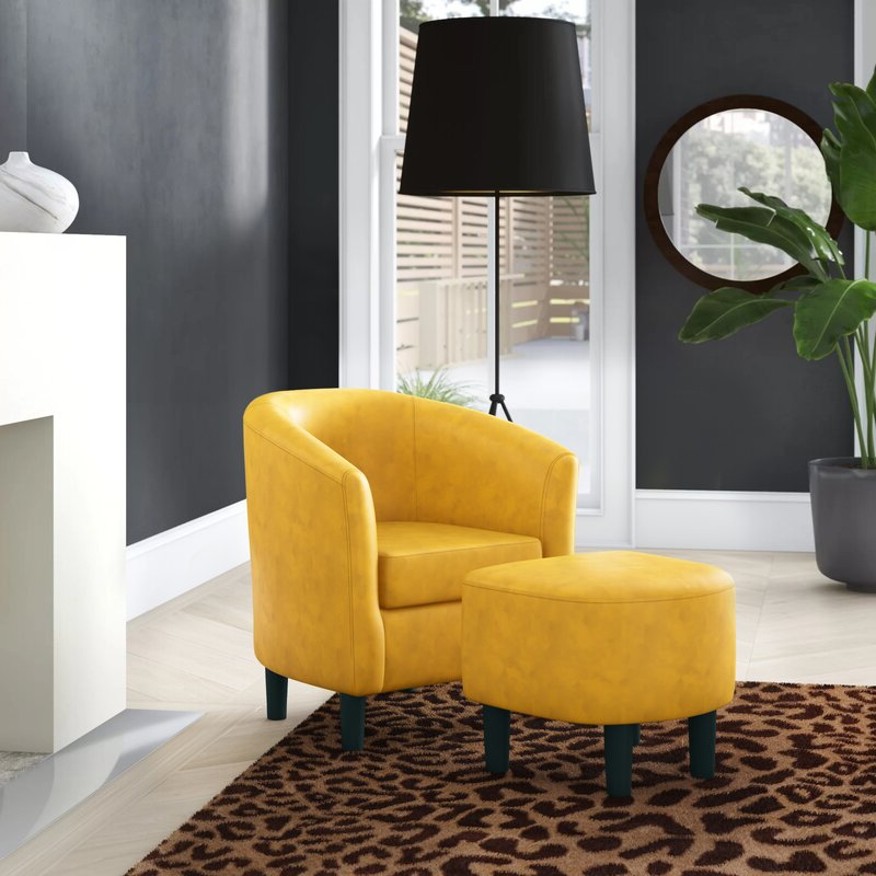 Featured Photo of Lucea Faux Leather Barrel Chairs And Ottoman
