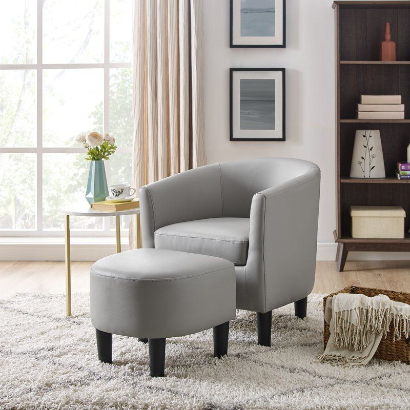Lucea Faux Leather Barrel Chairs And Ottoman For Preferred Pin On Furniture (View 9 of 30)