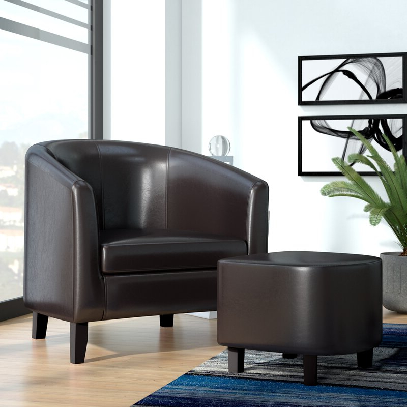 Lucea Faux Leather Barrel Chairs And Ottoman In Most Recent Burke (View 8 of 30)