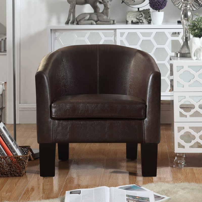 """Lucea Faux Leather Barrel Chairs And Ottoman Intended For Well Liked Franky 26"""" W Faux Leather Barrel Chair (View 14 of 30)"""