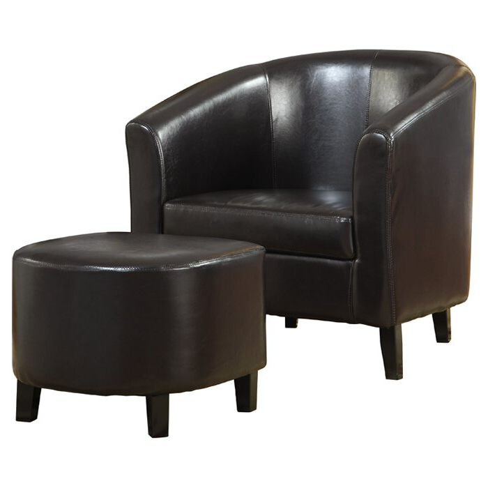 Lucea Faux Leather Barrel Chairs And Ottoman Throughout Most Recent Burke (View 6 of 30)