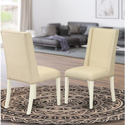 Madison Avenue Tufted Cotton Upholstered Dining Chairs (set Of 2) Pertaining To Most Up To Date Kelson Linen Upholstered Side Chair Upholstery Color: Linen White, Leg Color: White (View 14 of 30)