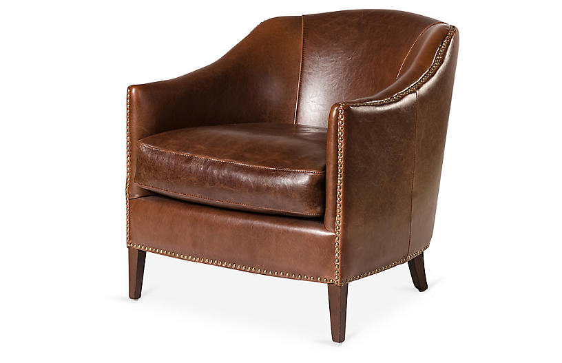 Madison Leather Club Chair, Saddle – Accent Chairs – Chairs Intended For Most Up To Date Sheldon Tufted Top Grain Leather Club Chairs (View 11 of 30)