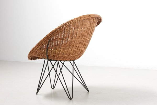 Mid Century Dutch Basket Lounge Chair With Metal Legsteun Velthuizen For Urotan, 1950s For 2020 Lounge Chairs With Metal Leg (View 24 of 30)