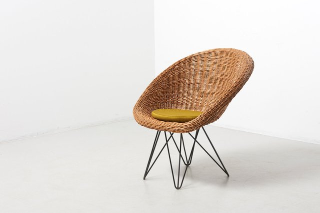 Mid Century Dutch Basket Lounge Chair With Metal Legsteun Velthuizen For Urotan, 1950s Intended For Preferred Lounge Chairs With Metal Leg (View 4 of 30)