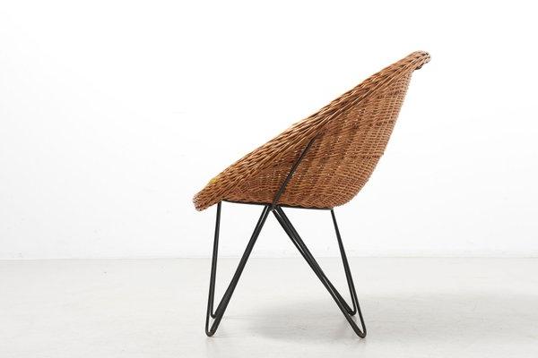 Mid Century Dutch Basket Lounge Chair With Metal Legsteun Velthuizen For Urotan, 1950s Throughout Current Lounge Chairs With Metal Leg (View 12 of 30)
