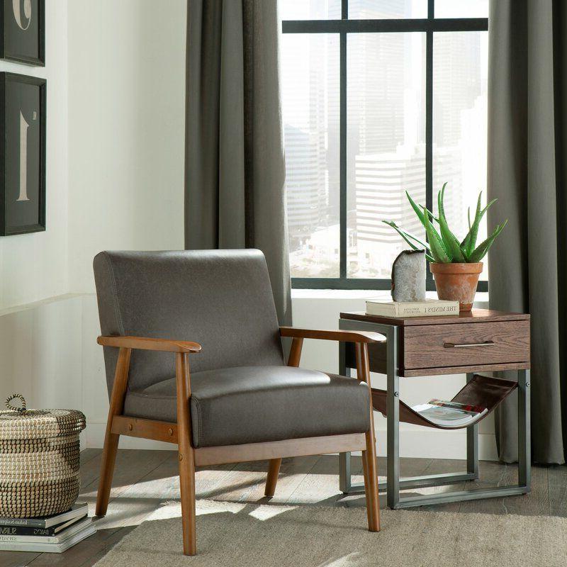 Mid Century Modern Accent With Trendy Jarin Faux Leather Armchairs (View 23 of 30)