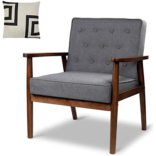 """Mid Century Retro Modern Accent Chair Wooden Arm Upholstered Tufted Back Lounge Chairs Seat Size 24.4"""" (View 15 of 30)"""
