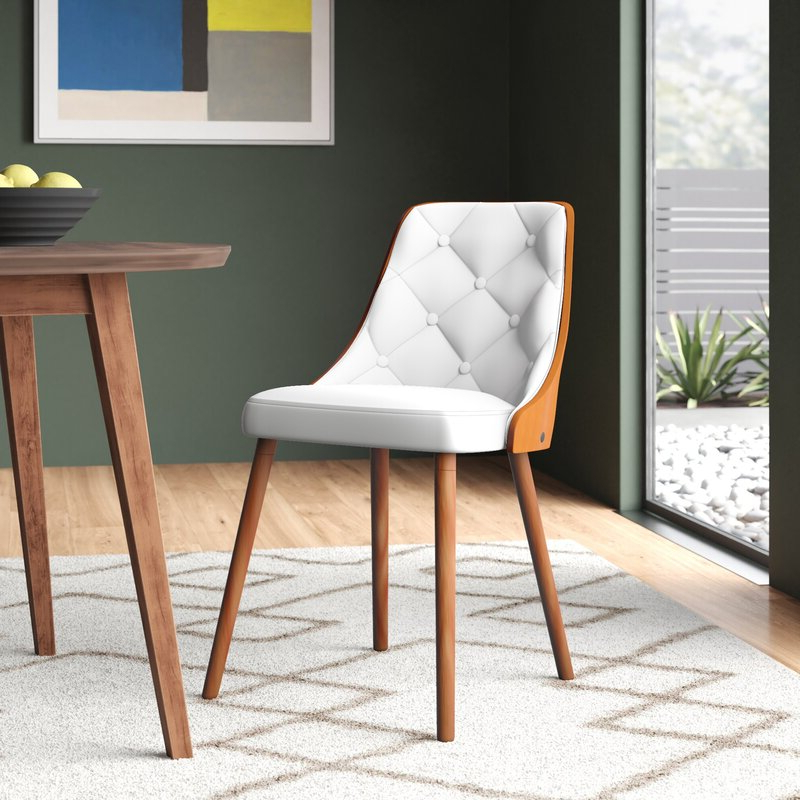 Mira Upholstered Dining Chair With Fashionable Liston Faux Leather Barrel Chairs (View 23 of 30)