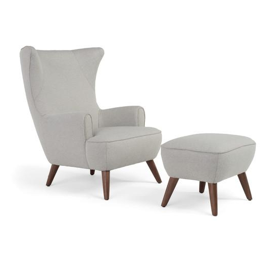 Modern Armchairs And Ottoman Intended For Popular Ruby High Back Ivory Armchair Ottoman (View 23 of 30)