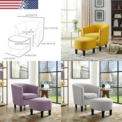 Modern Armchairs And Ottoman Within Most Up To Date Upholstered Club Accent Chair With Curved Back Armchair With Ottoman Set Modern (View 21 of 30)