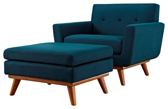 Modern Contemporary Urban Design Living Armchair And Ottoman, Navy Blue, Fabric With 2020 Modern Armchairs And Ottoman (View 2 of 30)