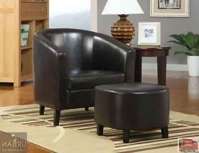 Modern Faux Leather Barrel Chair Ottoman Set Brown Seat Living Room Furniture (View 5 of 30)