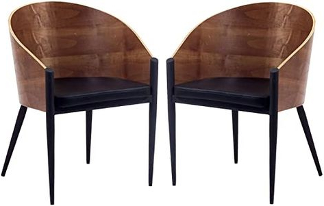 Modway Cooper Mid Century Two Dining Chairs In Faux Leather Pertaining To Most Recently Released Bernardston Armchairs (View 9 of 30)