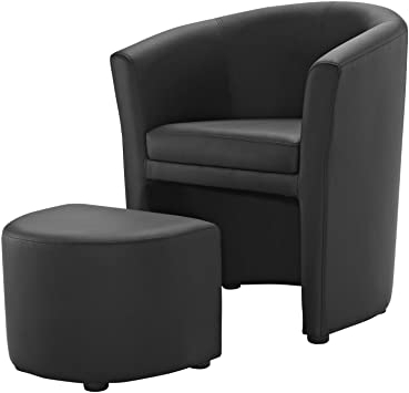 Modway Divulge Faux Leather Armchair And Ottoman Set In Black Regarding Most Recently Released Faux Leather Barrel Chair And Ottoman Sets (View 6 of 30)