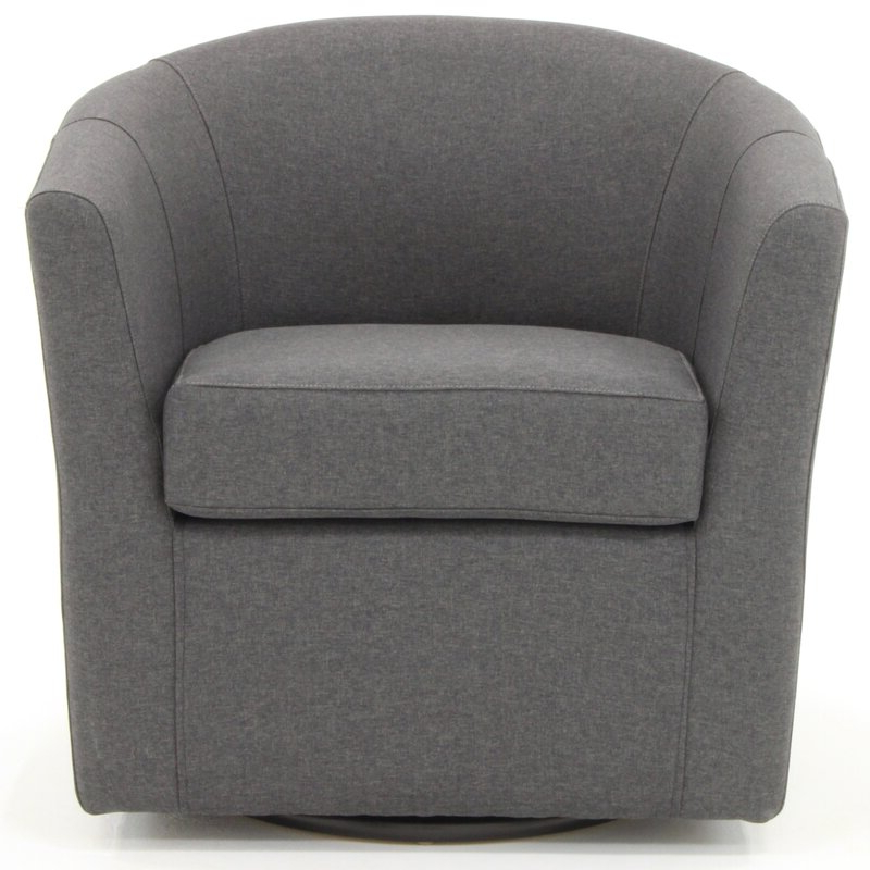 Molinari Swivel Barrel Chair In Newest Danow Polyester Barrel Chairs (View 5 of 30)