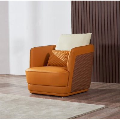 "Montenegro Faux Leather Club Chairs Throughout Newest Rowen 34"" W Top Grain Leather Club Chair Fabric: Orange/brown Genuine Leather (View 30 of 30)"