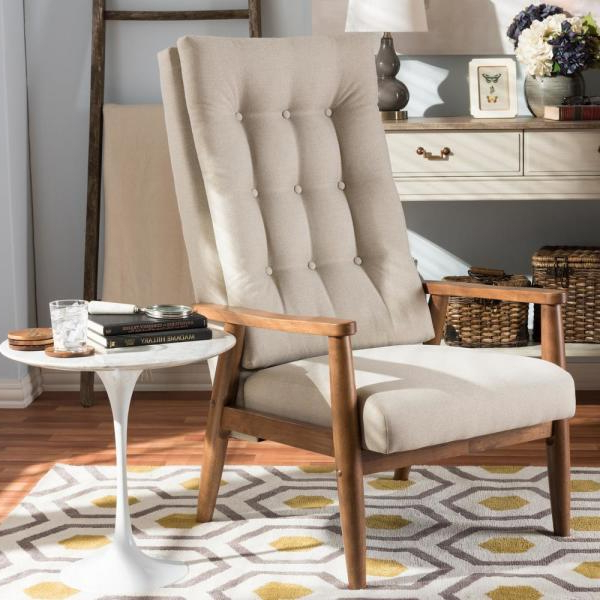 Most Current Aalivia Slipper Chairs Throughout Baxton Studio Roxy Beige Fabric Upholstered Accent Chair (View 27 of 30)