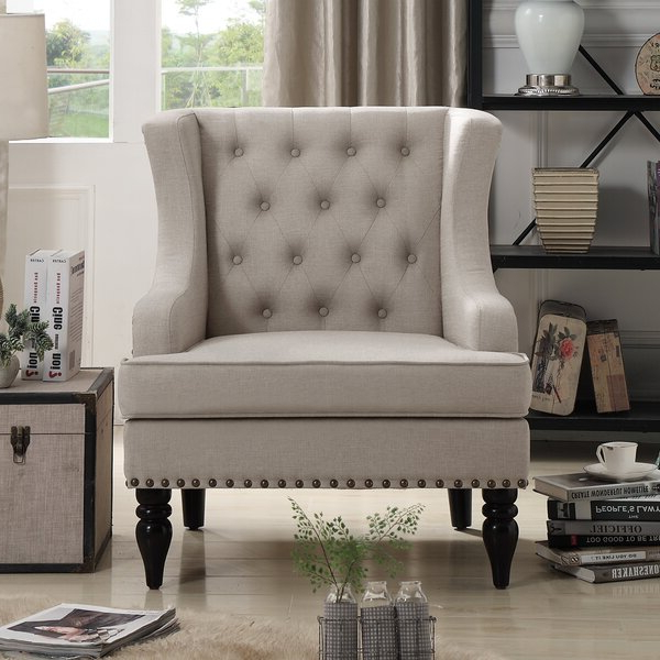 Most Current Classic Wingback Chair Regarding Galesville Tufted Polyester Wingback Chairs (View 22 of 30)